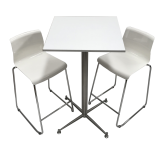 Square Bar Table Package 2 Seat - White